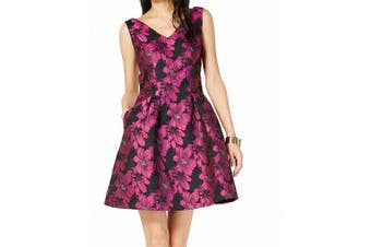 Donna Ricco Women's Dress Pink Size 8 A-Line Floral Print Shimmer