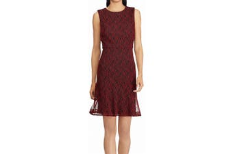 American Living Women's Dress Red Size 16 Shift Floral Sheer Illusion