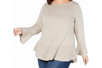 Style & Co. Womens Sweater Beige Size 1X Plus Scoop Neck Bell-Sleeves