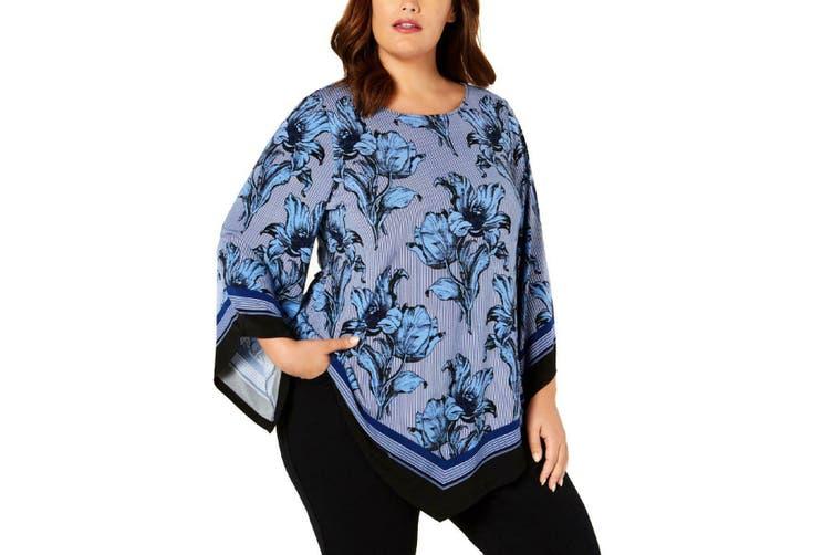 Alfani Women's Blouse Royal Blue Size 2X Plus Floral Handkerchief Hem