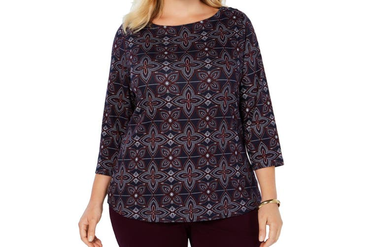 Charter Club Women's Top True Navy Blue Red Size 3X Plus Knit Floral