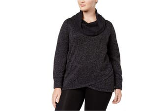 Ideology Women's Sweater Black Marl Size 1X Plus Cowl-Neck Pullover