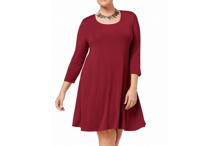 Style & Co. Women's Dress Canyon Red Size 3X Plus Swing Scoop Neck