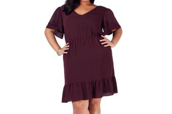 MICHAEL Michael Kors Women's Dress Purple Size 1X Plus Sheath Ruffled