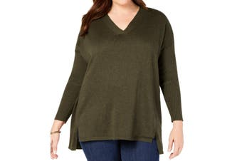 Style & Co. Women's Sweater Olive Green Size 2X Plus V-Neck Pullover