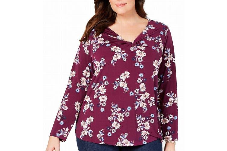 Style & Co Women's Blouse Purple Size 0X Plus Twist Neck Floral Print