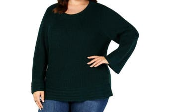 Style & Co. Women's Sweater Green Size 0X Plus Lantern-Sleeve Pullover
