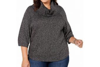 Belldini Women's Sweater Silver Size 1X Plus Ribbed Knit Turtleneck