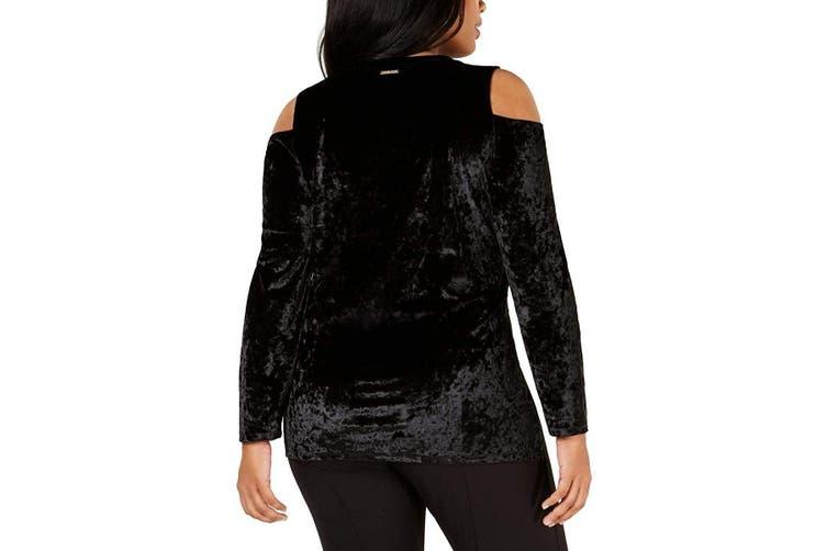 MICHAEL Michael Kors Women's Blouse Black 1X Plus Velvet Cold Shoulder