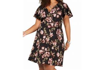 BCX Women's Sweater Dress Black Size 2X Plus A-Line Floral Faux Wrap
