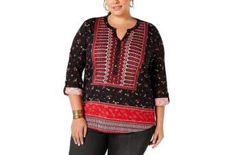 Style & Co. Women Blouse Black Size 3X Plus Knit Henley Roll Tab Sleeve