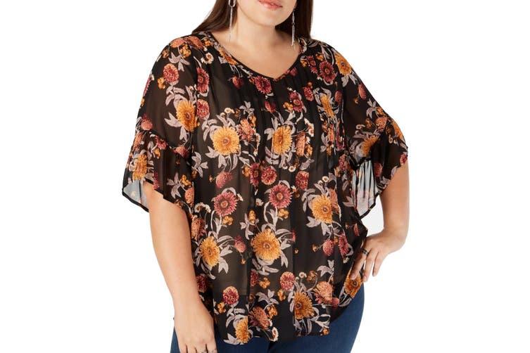 Style & Co. Women's Blouse Black Size 2X Plus Floral Flutter Sleeve