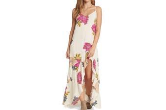 Billabong Women's Dress Classic Beige Size XS Maxi Floral Kick It Up