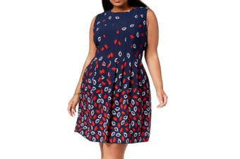 Anne Klein Womens Dress Navy Blue Red Size 24W Plus A-Line Fit & Flare