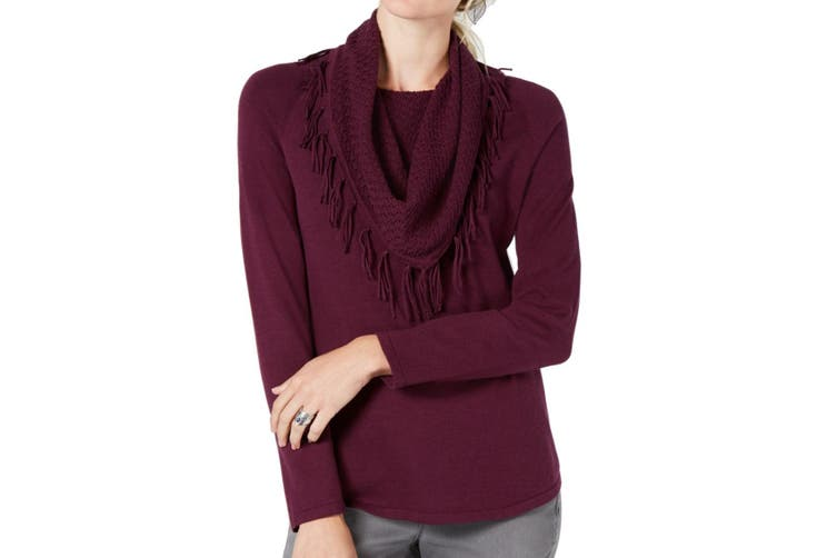 Style & Co. Women's Sweater Purple Size Small PS Petite Cowl Neck
