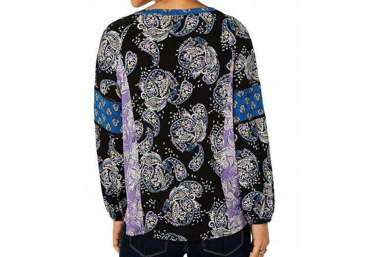 Style & Co. Womens Blouse Black Size 3X Plus Paisley Floral Printed