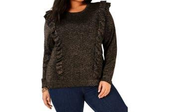 MICHAEL Michael Kors Women Sweater Black Size 2X Plus Pullover Shimmer