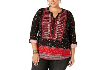 Style & Co. Women's Top Black Size 1X Plus Knit Roll-Tab Sleeve Henley