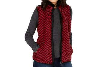 Karen Scott Women's Vest Red Size 3X Plus Printed Colorblocked Fuzzy