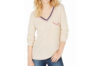 Hippie Rose Women's Sweater Beige Size Small S V-Neck Stripe Pullover