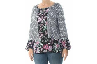Style & Co. Women's Blouse Black 3X Plus Floral Printed Keyhole Peasant