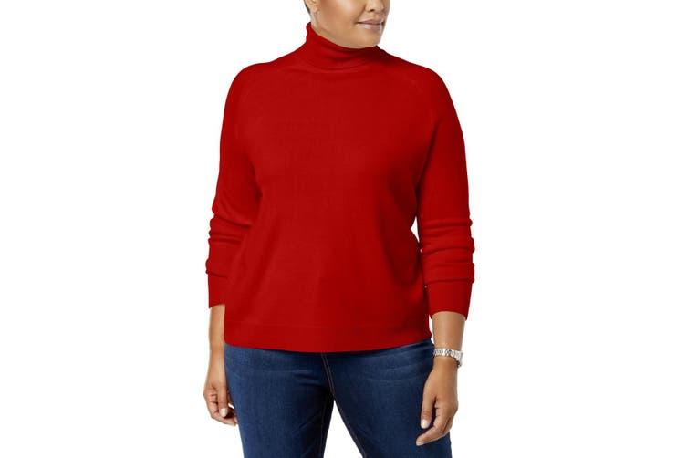 Karen Scott Women's Sweater Red Size 2X Plus Turtleneck Pullover