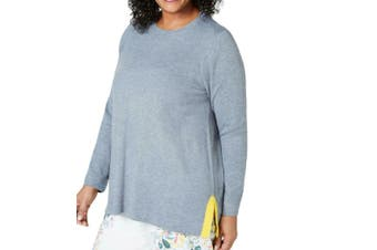 Charter Club Women's Sweater Gray Size 1X Plus Pullover Side-Slit