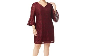 Connected Apparel Women's Dress Red Size 20W Plus V-Neck Lace Floral