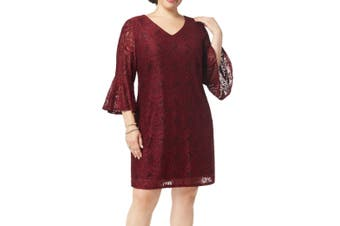 Connected Apparel Women's Dress Red Size 18W Plus V-Neck Lace Floral