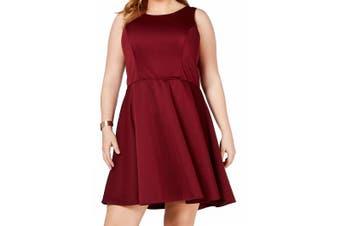 City Studio Women's Dress Burgundy Red Size 14W Plus A-Line Fit & Flare