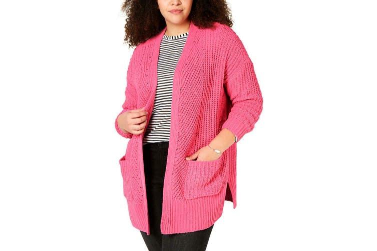 Style & Co Women Sweater Berry Pink Size 1X Plus Crochet Cardigan
