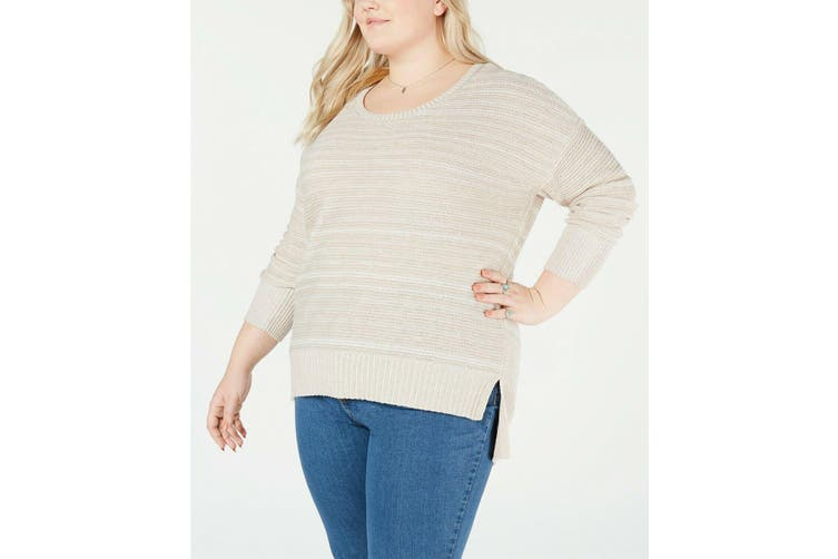 Style & Co Womens Sweater Beige Size 3X Plus Ribbed Knit Split Hem