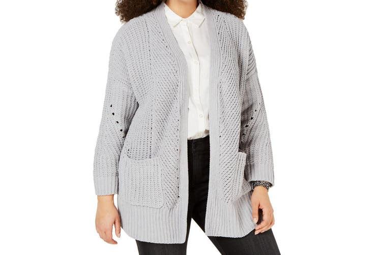 Style & Co. Women's Sweater Gray Size 1X Plus Open Front Cardigan