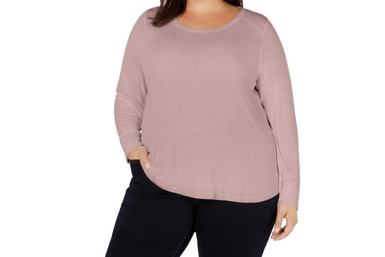 INC Women's Top Pink Size 1X Plus Ribbed Knit Stretch Scoop Neck