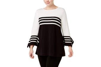 Alfani Women's Sweater Black Size 2X Plus Pullover Contrast Striped