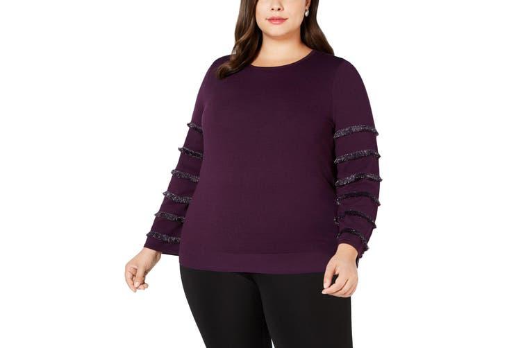 Alfani Women's Sweater Purple Size 2X Plus Pullover Metallic Fringe