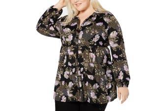 Style & Co. Women's Blouse Black Size 2X Plus Petal Floral Button Up