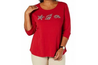Karen Scott Women's Knit Top Red Size 2X Plus Sea Shell Embellished