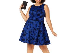 City Studio Women's Dress Blue Size 16W Plus A-Line Floral Velvet