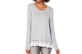 BCX Women's Sweater Light Gray Size XL Sccop Neck Lace Trim Pullover