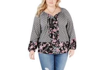Style & Co. Women's Blouse Black 3X Plus Floral Keyhole Peasant