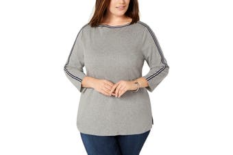 Charter Club Women's Top True Heather Gray Size 0X Plus Knit Striped