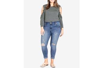 Chic Denim Women's Blue Size 22 Plus Distressed Skinny Jeans Stretch