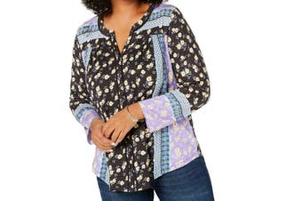 Style & Co. Women's Blouse Black Size 3X Plus Patched Print Button Up