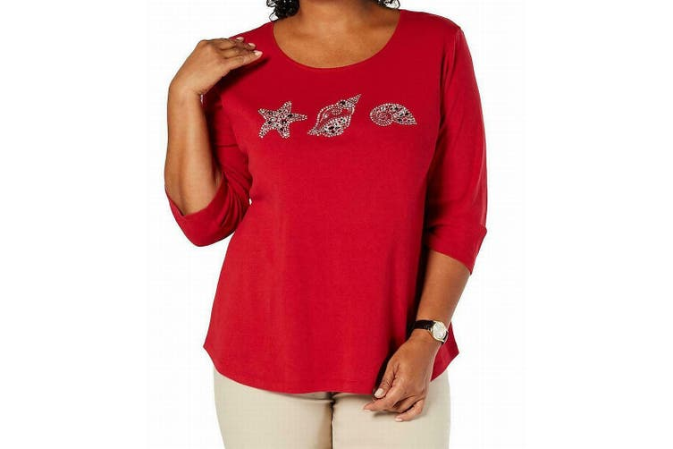 Karen Scott Women's Knit Top Red Size 3X Plus Seashell Embellished