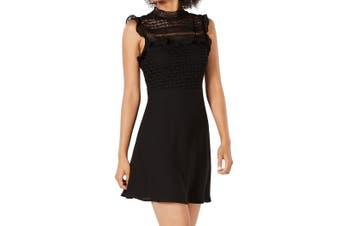 19 Cooper Women's Dress Black Size Small S A-Line Crochet Contrast