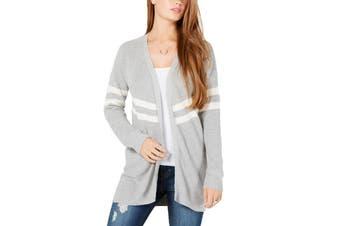 Hippie Rose Sweater Gray Size Large L Junior Varsity-Stripe Cardigan