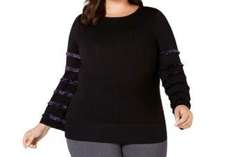 Alfani Women's Sweater Black Size 1X Plus Scoop Neck Metallic Sleeve