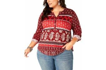 Style & Co Women's Top Red Size 3X Plus Roll Tab Print Split-Neck