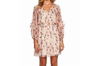 CeCe Women's Dress Pink Size Medium M A-Line Floral V-Neck Ruffled